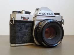 Câmera Fotográfica SLR 35mm Pentax K1000 c/ objetiva 50mm + 2 objetivas, tudo original!