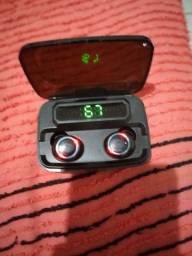 Fone de ouvido Bluetooth com carregador portátil