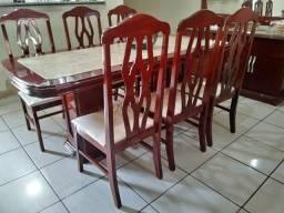 Conjunto de sala de jantar: mesa, 6 cadeiras, balcão de buffet e espelho (madeira maciça)
