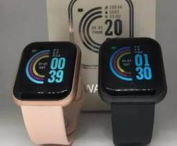*Kit 2 Smartwatch D20, Rosa e Preto (Promoção)*