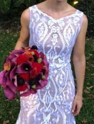 Vestido de noiva rendado com forro champagne