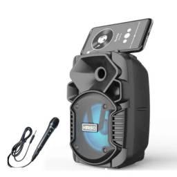 Caixa de Som Portátil Wireless Bluetooth, FM, SD, Pen Drive e Microfone - Preto