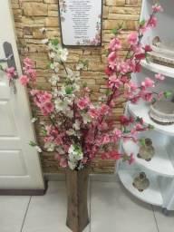 Flores artificiais - Buque Hastes Pessegueiros Artificial Branco e Rosa Cerejeira