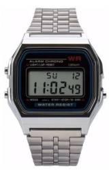 Relógio Digital Aço Vintage Unissex WR Retrô de Pulso