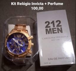 Kit Relógio e Perfume 100 ML- Atacado e Varejo