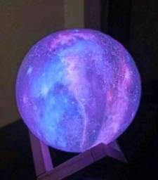 Luminária Planeta Cheia 3D Troca de Cor Pronta entrega!