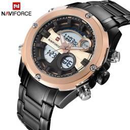 Título do anúncio: Relógio Militar de aço NAVIFORCE 9088 Gold Black Resist Água 3ATM ENTREGA GRASTIS*