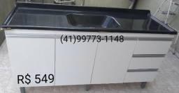 Pia 1,60 C/ Puxadores de Alumínio e Tampo. NOVA. ENTREGAMOS