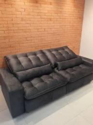 Sofa novo retratil reclinavel de 2,44m cinza chumbo