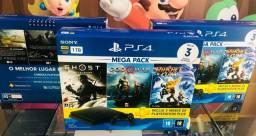 PS4 Slim 1tb  megapack 3 jogos. Conheça a maior loja de games do ABC