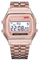 Relógio Digital Vintage Unissex WR Retrô de Pulso Aço