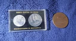 Moedas e medalha Sesquicentenário da Independência