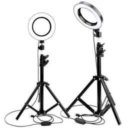 Iluminador ring light 26cm com tripé + suporte central