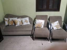 Conjunto sofá divan e poltronas