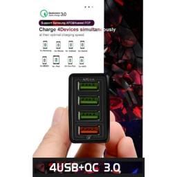 Usb 4 Entradas Carga Rápida 3.0 iphone 11 Huawei Samsung Xiaomi Motorola Tablet Lg / Preto