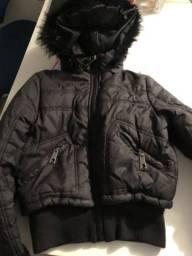 Jaqueta infantil capuz de pelo macio