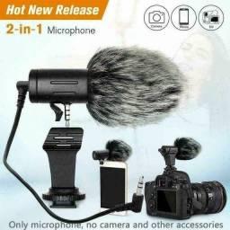 Microfone Condensador Portátil De 3,5mm Para Câmeras e Smartphone