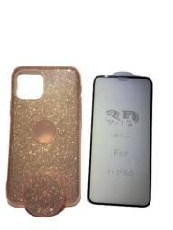 Capa Glitter com Pop Cel Iphone 11 Pro + Película 3D Grátis