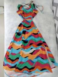 Título do anúncio: Vestido Estampado Waves Midi Tamanho P