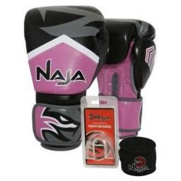 Luva Boxe Muay Thai Naja New Extreme Rosa Tamanho 12Oz