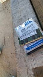 Hd 320g e memória 2g para notebook