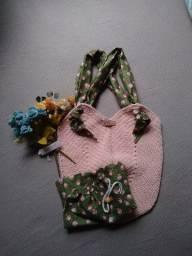 Bolsa de crochê alça de tecido + ecobag -mod04