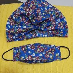 Kit turbante-touca e máscara