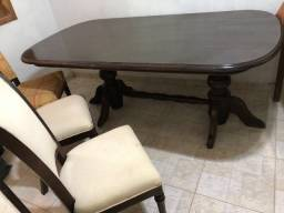Jogo sala de jantar: mesa e 4 cadeiras, revestido em madeira jacarandá, perfeito estado!