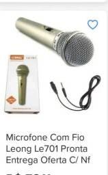 Microfone lelong com fio zap na descrição
