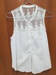 Blusa branca com renda P/M