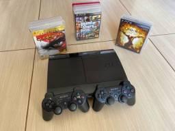 PS3 + 2 Controles + 10 jogos