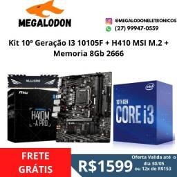 Kit 10 Geração I3 10105F + H410M Msi M.2+8Gb de memoria ddr4 2666(lacrado),Loja mega