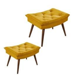 Kit 2 Banqueta Rubi Essencial Estofados Amarelo Cestaplus