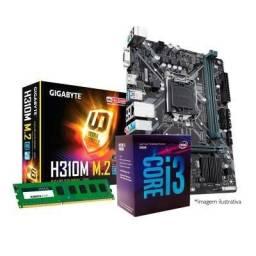 Kit i3 8100 8 geração com placa mae h310 m/2 com memória RAM e 4 gb ddr 4