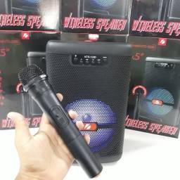Título do anúncio: Caixa de Som Microfone Sem Fio