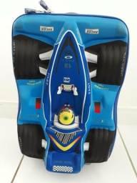 Mochila Escolar 3D com rodinha menino - Carro de corrida azul