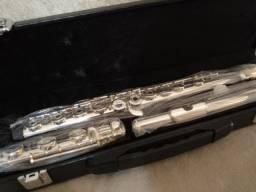 Flauta Transversal Jahnke Prata Pé Em Si Vazada - Nova
