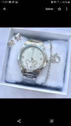Relógios femininos kit pulseira + brinco