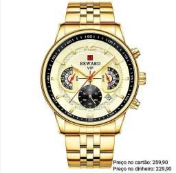 Relógio masculino dourado original Reward importado todo funcional