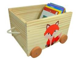 Baú Toy Box Organizador De Brinquedos E Livros Em Madeira