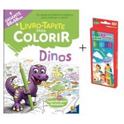Kit Livro Tapete Infantil Para Colorir  Gigante Dinos + Caixa de Lápis de Cor 12 Cores