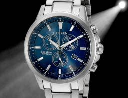 Citizen Eco-drive Titânio E Safira Azul 42mm At2340-56l Top - Exclusivo !