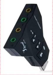 Placa de áudio 7.1 USB notebook e pc