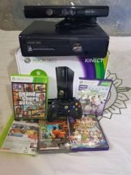 Xbox 360 Slim + Kinect + Jogos