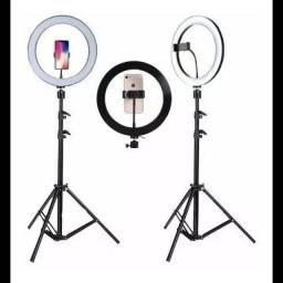 Kit Completo Ring Light 26m Profissional Com Tripé 2,10 Dimmer Youtuber Selfi gravações