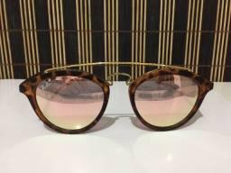 (Aceito cartão) Óculos solar unissex modelo Redondo - Lente: Rosa espelhada estilo Ray Ban