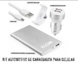 KIT AUTOMOTIVO DE CARREGADOR PARA CELULAR,TABLET E SMARTPHONE