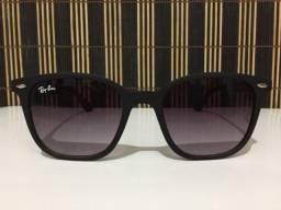 (Aceito cartão) Óculos solar unissex modelo redondo - Lente: Preta Degradê estilo Ray Ban
