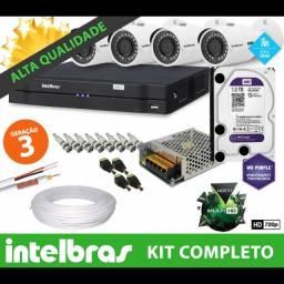 12 X sem juros - Kit Intelbras 4 Câmeras - Pronto a instalar