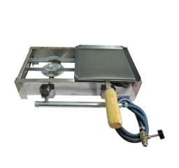 Título do anúncio: Fogareiro Inox Alta pressão De mesa 2 bocas Chapa C/ cabo + Kit gás